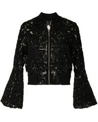 Elie Saab Sequin-embellished Bell-sleeve Jacket - Black