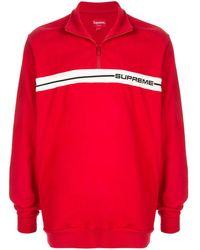 Supreme Logo Stripe Pullover - Red