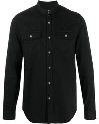 Balmain Hemd mit Mandarinkragen - Schwarz