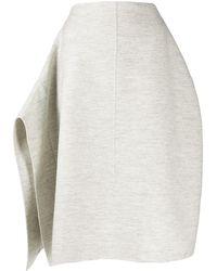 Jil Sander Asymmetric Draped Knitted Skirt - Gray