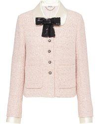 Miu Miu Bow-neck Tweed Jacket - Pink
