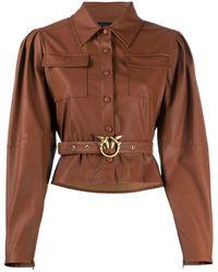 Pinko - Рубашка Из Искусственной Кожи С Поясом - Lyst