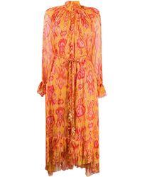 Zimmermann Платье С Абстрактным Принтом - Оранжевый
