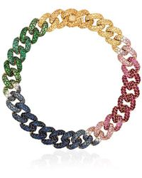 SHAY 18kt yellow gold rainbow gemstone chain bracelet - Metallizzato