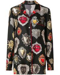 Dolce & Gabbana - Sacred Heart Print Pyjama Shirt - Lyst
