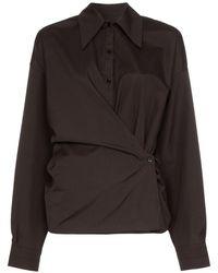Lemaire ツイストフロント シャツ - ブラック