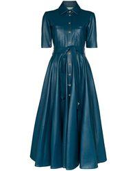 ANOUKI フレア シャツドレス - ブルー