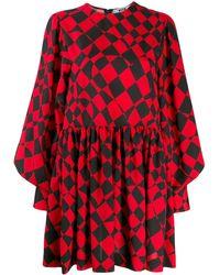MSGM Geometric-print Mini Dress - Red