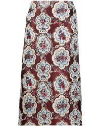 La DoubleJ Falda de tubo con estampado Matisse - Rojo
