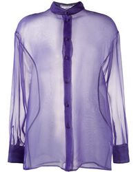 AMI Semi-transparente Bluse - Lila