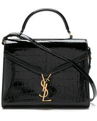 Saint Laurent Medium Cassandra Croc-effect Top-handle Bag - Black