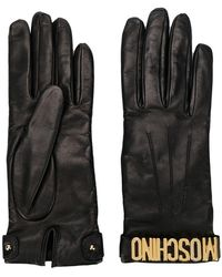 Moschino - Leather 100% Logo Gloves - Lyst