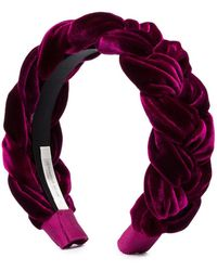 Jennifer Behr Burgundy Lorelei Velvet Headband - Purple