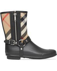Burberry House-check Strap-detail Rain Boots - Black