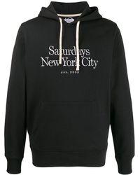 Saturdays NYC Sweat à capuche à logo brodé - Noir