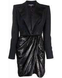 Les Hommes Blazer Wrap-skirt Layered Dress - Black