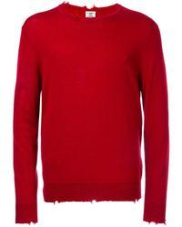 Kent & Curwen Distressed Fine Knit Sweater - Red