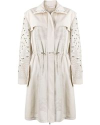 Emilio Pucci Perforated Trench Coat - Natural