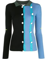 i-am-chen Button-up Color Block Cardigan - Blue