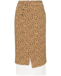 Rejina Pyo Leopard Print High-waisted Double Layer Cotton Skirt - Brown