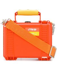 Heron Preston Orange Tool Tote Bag In Synthetic Fiber With Logo Shoulder Strap And Details In Yellow
