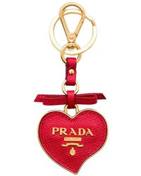 Prada Trick Heart-shaped Keychain - Red