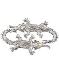 Marni Kazuma Nagai Crocodile Brooch - Metallic