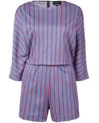 Vanessa Seward Stripe Fitted Playsuit - Blue