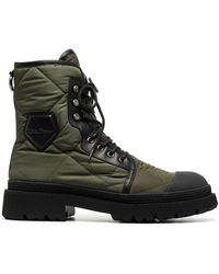 Ferragamo Стеганые Ботинки В Стиле Милитари - Зеленый