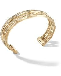 David Yurman 18kt Yellow Gold Medium Stax Diamond Cuff - Metallic