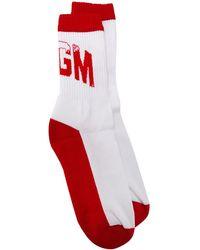 MSGM Logo Print Ankle Socks - White