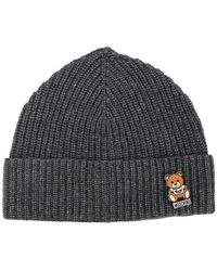 Moschino - Ribbed Teddy Pin Beanie - Lyst