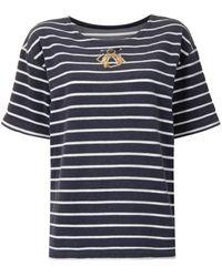 Dior T-shirt rayé à logo brodé pre-owned - Bleu