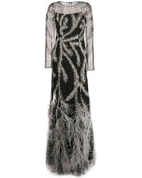 Alberta Ferretti フェザートリム ドレス - ブラック