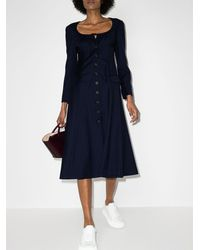 By Any Other Name Pinstripe-patternlong-sleeve Midi Dress - Blue