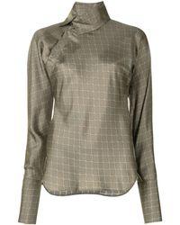 Shanghai Tang X Yuni Ahn Split Qipao Collar Lattice Silk Blouse - Brown