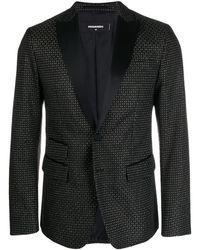 DSquared² London Geometric Patterned Blazer - Black