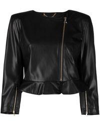 Patrizia Pepe Collarless Faux-leather Jacket - Black