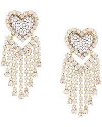 Shourouk Love You In The Galaxy Gold-tone, Crystal And Pearl Earrings - Metallic