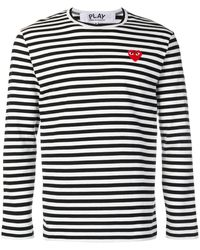 COMME DES GARÇONS PLAY Striped Big Heart Long Sleeve T-shirt - Black