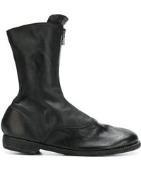 Guidi Front Zip Army Boots - Black