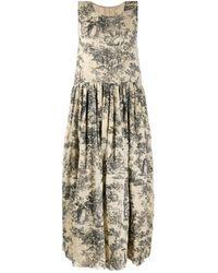 Uma Wang Платье Миди Без Рукавов С Цветочным Принтом - Черный