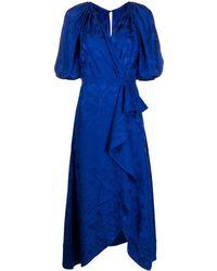 Saloni Платье С Запахом И Цветочным Принтом - Синий