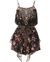 Camilla Floral Layered Playsuit - Black