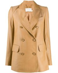 Zimmermann Double Breasted Fitted Blazer - Natural