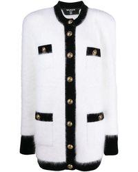 Balmain Manteau court en maille à simple boutonnage - Blanc