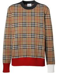 Burberry Button Detail Check Technical Wool Jacquard Sweater - Multicolor