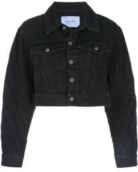 Mugler Cropped Denim Jacket - Black