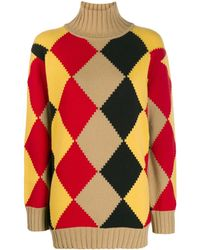 Pringle of Scotland Graphic Argyle Roll-neck Sweater - Yellow