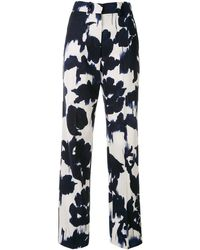 Delpozo Abstract-print Straight Trousers - Blue